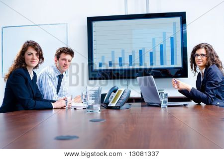 Happy business people having meeting at modern office, smiling.