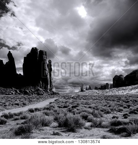 Monochrome Monument Valley Arizona with evening cloudy skies