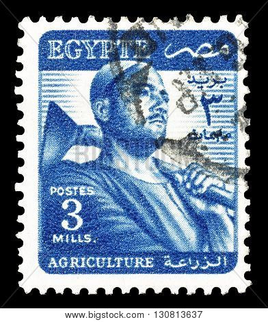 EGYPT - CIRCA 1953 : Cancelled postage stamp printed by Egypt, that shows Farmer.