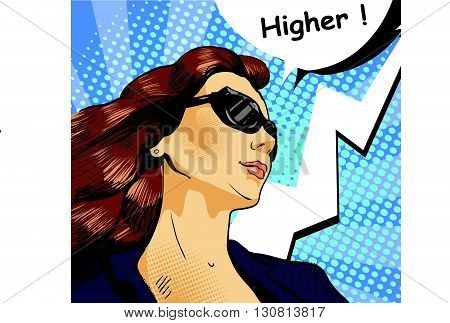 Woman in sunglasses with arrow graph. Vector illustration in comics retro pop art style.