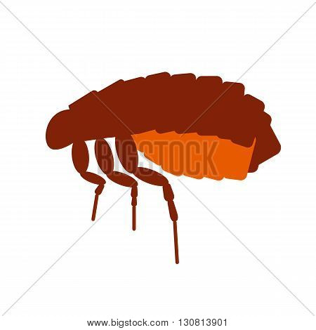 Skin pest flea vector illustration. Flea isolated on white background. Pest flea vector icon illustration. Parasite skin flea isolated vector.