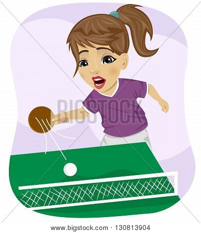 action shot of cute teenager girl playing table tennis