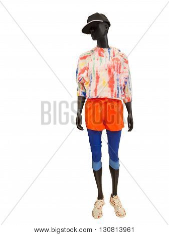 Full-length female mannequin wearing clothes for sport end rest. Isolated on white background. No brand names or copyright objects.