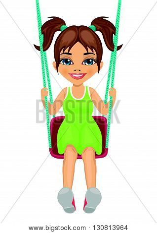 Adorable girl having fun on a swing isolated on white background
