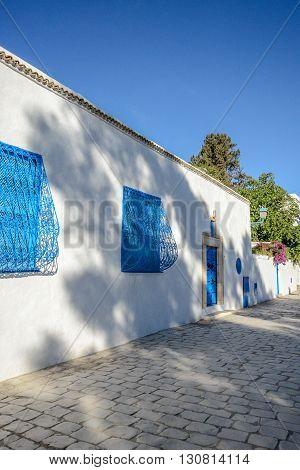 Sidi Bou Said. La Gulett Tunisia. White and blue town