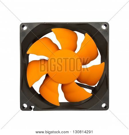 Computer case cooling fan isolated on white background