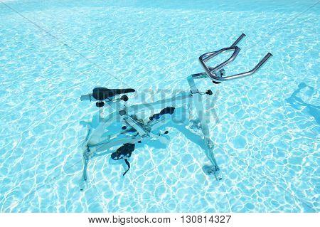 The water bicycle in swimming pool Corfu Greece