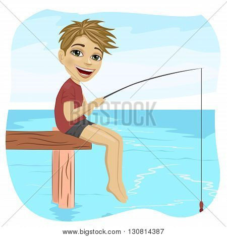 Little smiling boy fishing on the lake sitting on a wood pontoon in the morning