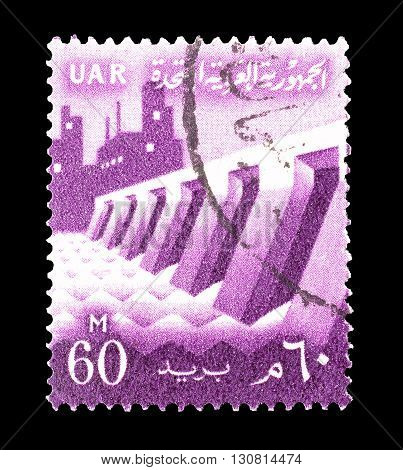 EGYPT - CIRCA 1960 : Cancelled postage stamp printed by Egypt, that shows Dam and factory.