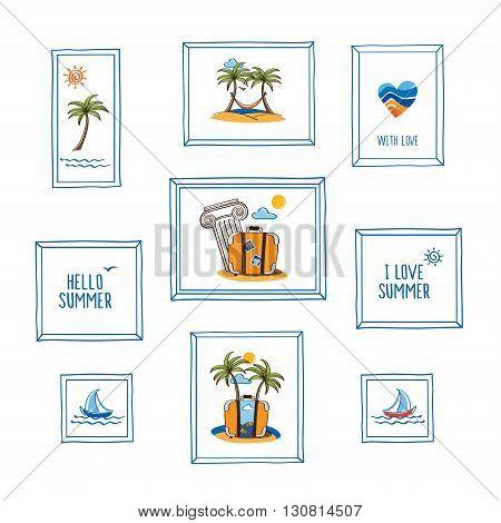 Set of hand drawn summer pictures in frames. Hello summer. I love summer. Symbols of summer. Doodles, sketch for your design. Vector illustration.