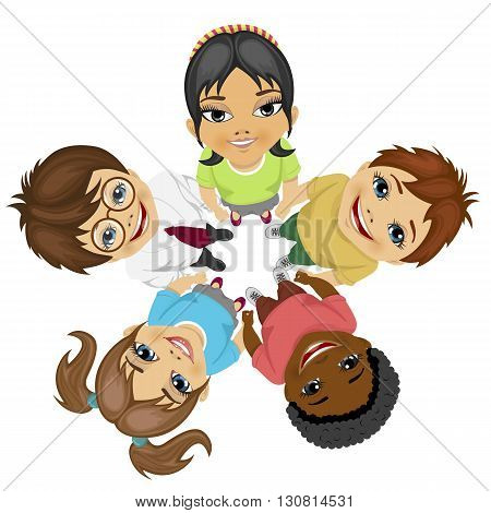 Group of multiracial kids in a circle looking up holding their hands together on white background