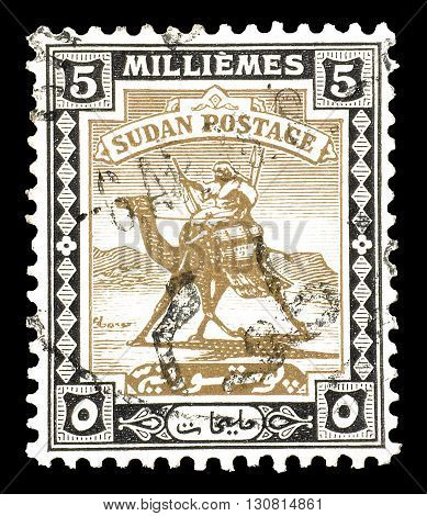 SUDAN - CIRCA 1922 : Cancelled postage stamp printed by Sudan, that shows Camel post.