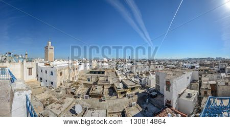aerial view of Tunis Medina with the high minaret of the Great Mosque Tunisia.