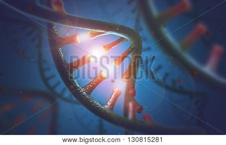 3d illustration  concept of DNA and RNA molecules.