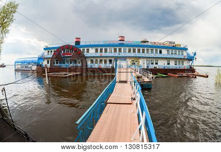 SAMARA RUSSIA - MAY 8 2016: Floating restaurant Scriabin on the Volga River in the summer day