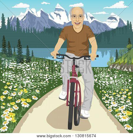 Senior man with glasses on his mountain bike outdoors