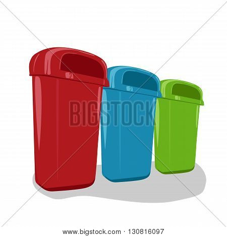 Different colored recycle bins set isolated on white background