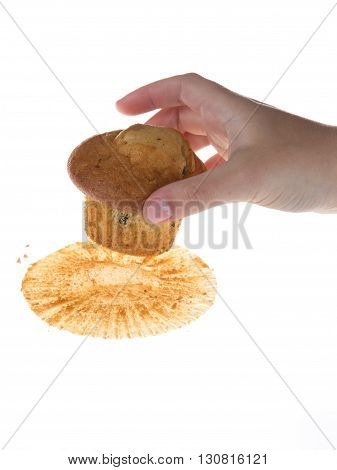 Hand Catch Chocolate Muffin Against White Background
