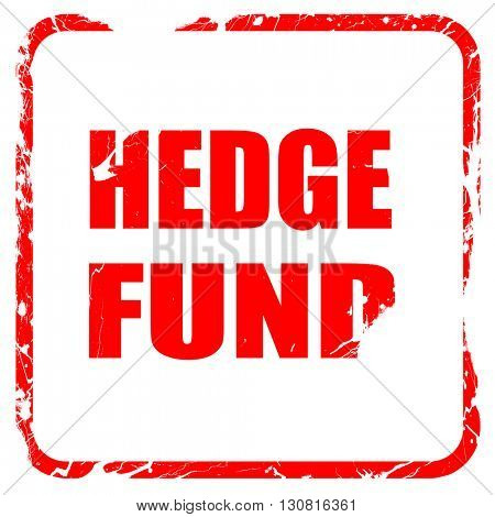 hedge fund, red rubber stamp with grunge edges