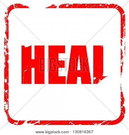 heal, red rubber stamp with grunge edges