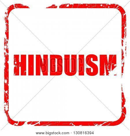 hinduism, red rubber stamp with grunge edges