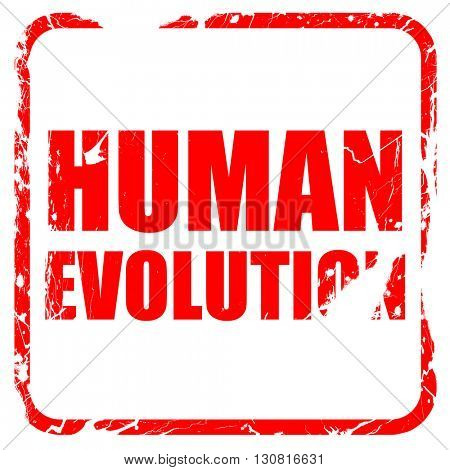 human evolution, red rubber stamp with grunge edges