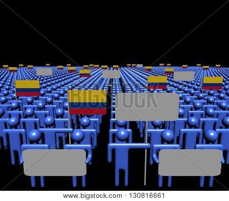 Crowd of people with signs and Colombian flags 3d illustration
