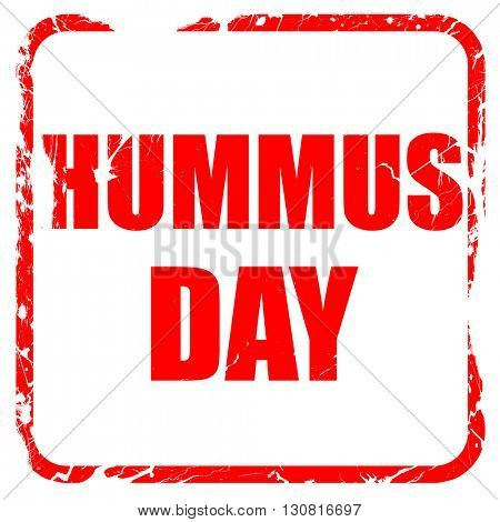 hummus day, red rubber stamp with grunge edges