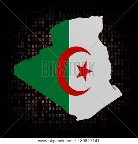 Algeria map flag on hex code 3d illustration