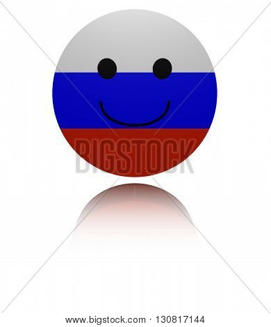 Russian happy icon with reflection 3d illustration