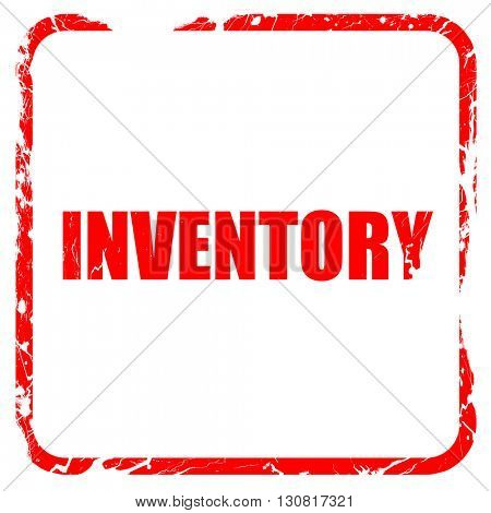 inventory, red rubber stamp with grunge edges