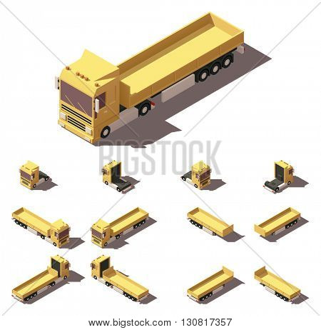 Vector Isometric icon or infographic element representing truck or tractor with cargo trailer or semi-trailer. Every truck and trailer in four views with different shadows