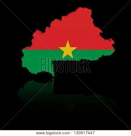 Burkina Faso map flag with reflection 3d illustration