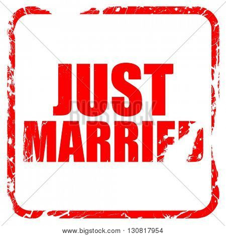 just married, red rubber stamp with grunge edges
