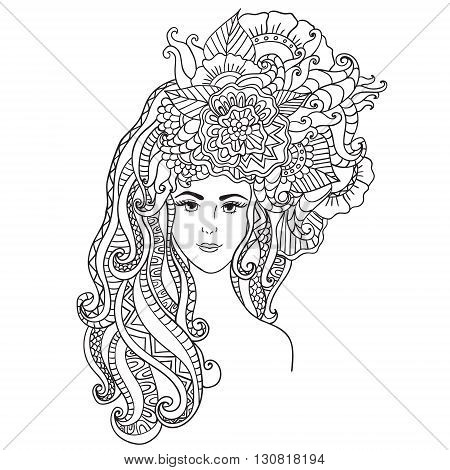 Vector illustration card beauty and fashion. Girl with flowers on her head. Zentangl, dudling. Adult coloring books. Bohemia flower concept for wedding invitation, card, ticket, branding, boutique logo, label