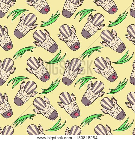 Seamless cheerful pattern of zebra muzzles of different emotions