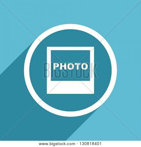 photo icon, flat design blue icon, web and mobile app design illustration