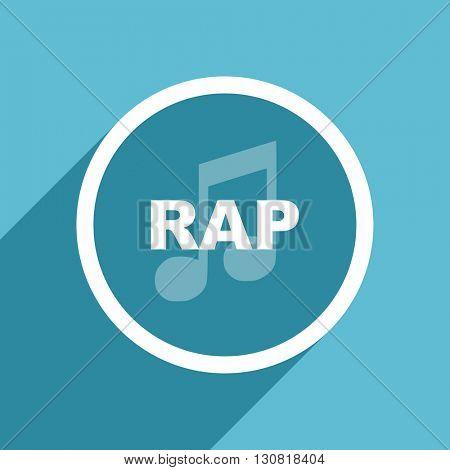rap music icon, flat design blue icon, web and mobile app design illustration