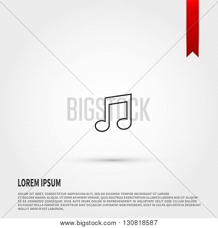 Music note icon. Music note symbol. Flat design style. Template for design.