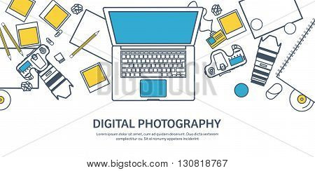 Lined fhotographer equipment on a table. Photography tools, photo editing, photoshooting outline flat background.  Digital photocamera with lens. Vector illustration.
