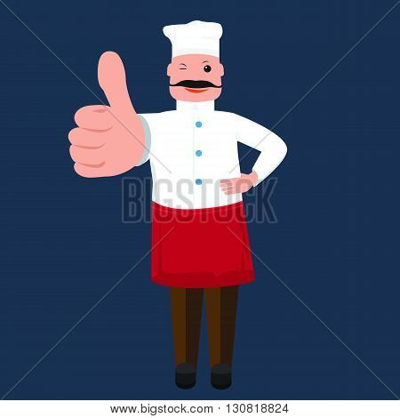 Vector cute Chef cook man showing thumb up. Chef cook with solid and flat color design. Cook for your restaurant menu design.