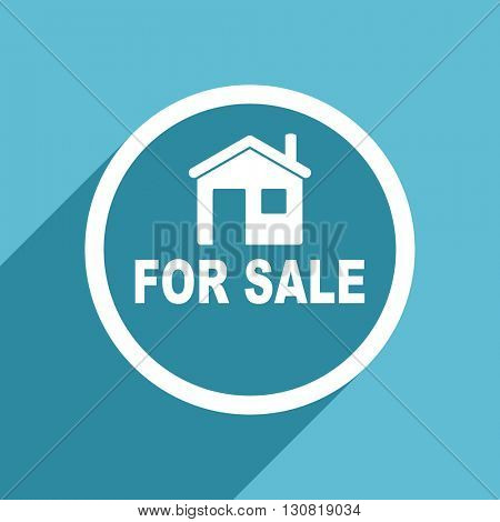 for sale icon, flat design blue icon, web and mobile app design illustration