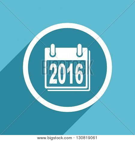 new year 2016 icon, flat design blue icon, web and mobile app design illustration