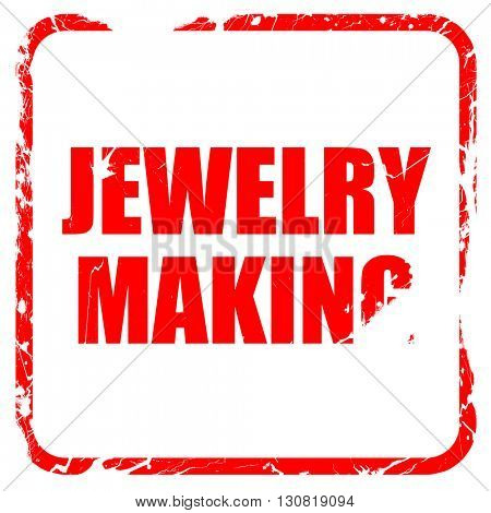 jewelry making, red rubber stamp with grunge edges
