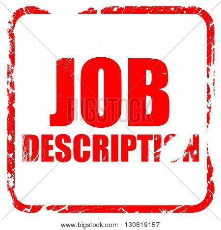 job description, red rubber stamp with grunge edges