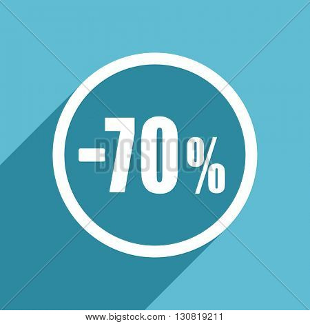 70 percent sale retail icon, flat design blue icon, web and mobile app design illustration