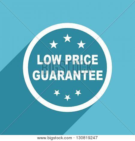 low price guarantee icon, flat design blue icon, web and mobile app design illustration