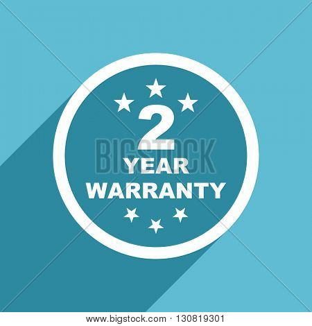 warranty guarantee 2 year icon, flat design blue icon, web and mobile app design illustration