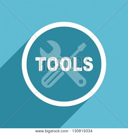tools icon, flat design blue icon, web and mobile app design illustration