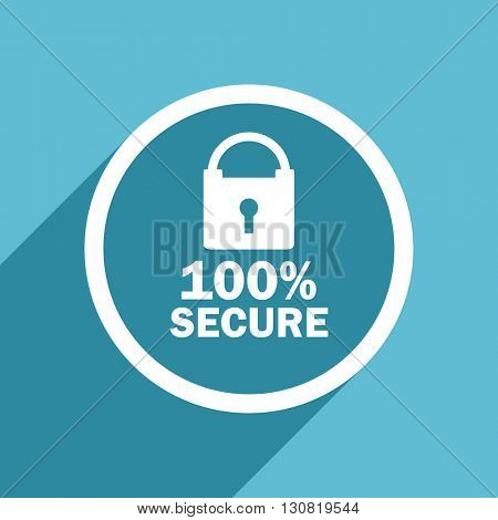 secure icon, flat design blue icon, web and mobile app design illustration